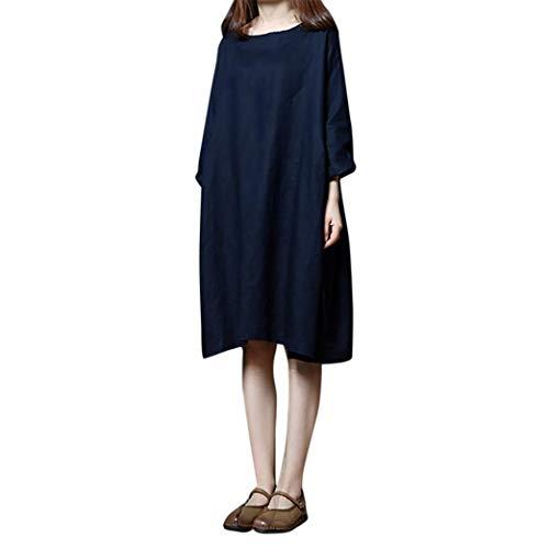 Damen Kleid, Malloom Frauen Langarm Solid O-Neck Baumwolle und Leinen lose Plus Size Langes Kleid Damen Casual Plus größe Verlieren Rundhalsausschnitt