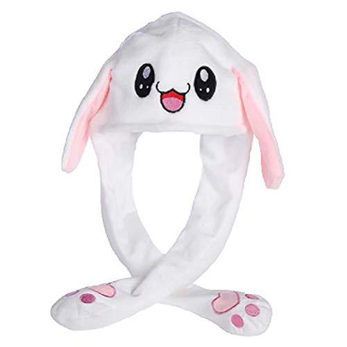 (Fandoria Damen/Herren Plüsch Tier Hut Funny Cap beweglich/Jumping Kaninchen Ohr Mütze Kreatives Geschenk Spielzeug)