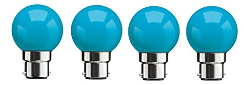 Syska SKC-0.5W-B Base B22 0.5-Watt LED Glass Bulb (Pack of 4, Blue)