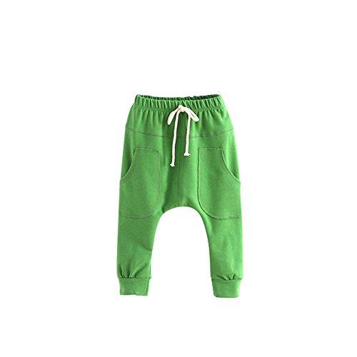 Jungen Grün Jogginghose (Minuya Kind Baumwolle Babyhose Freizeithose Jungen Mädchen Elastischer Bund Haremshose Trainingshose Jogginghose Sporthose 2-7 Jahre)