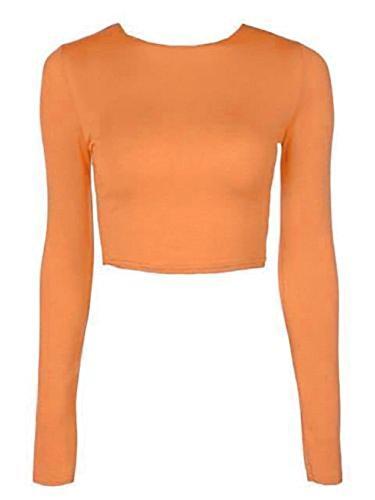 ELFEN FASHION DAMEN LANGARMSHIRT, RUNDHALSAUSSCHNITT, T-SHIRT, MIT AUFDRUCK, GR. 36-42 Orange - Orange
