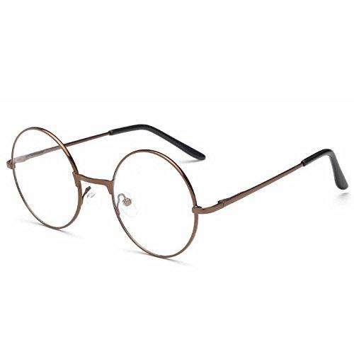 ProProCo Fashion Brille ohne Stärke für Damen und Herren Unisex Transparente Fashion Brille Nerd Brille (Bronz)