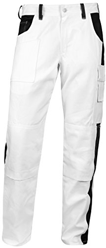 Hose Baumwolle Maler (Malerhose komplett Stretch Stuckateur Putzer Arbeitshose Weiß mit Kniepolstertaschen. Reißverschluss YKK + Metallknopf YKK Baumwolle - made in EU - KERMEN - Weiß/Schwarz 56)