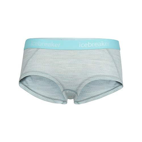 Icebreaker Damen Sprite Hot Pants Funktionsunterwäsche Blizzard Hthr/Aqua Splash/Stripe L