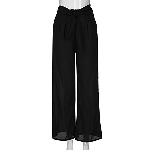 Wide Leg Pants Womens Lovely Bow Tie Waist Pocket Loose Cool Leg Pants Trousers Women Pantalon Mujer Black S