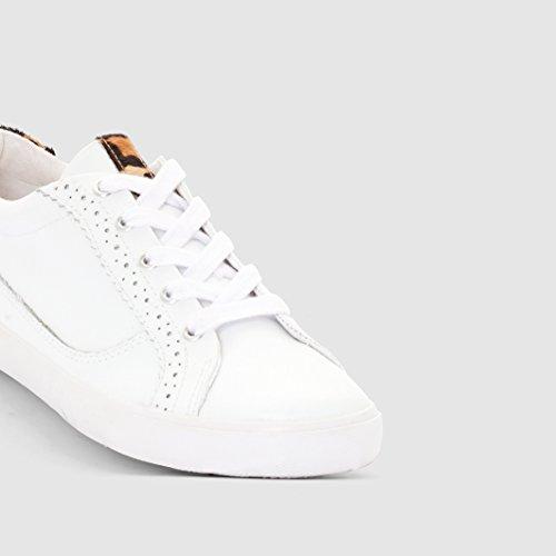 R Studio Donna Baskets Pelle Dettaglio Leopardato Bianco
