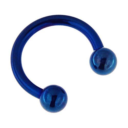 Monster Piercing 14 Gauge - 6MM Durchmesser blau eloxiert 316L Chirurgenstahl CBB Hufeisen Septum mit Kugelnasenring Piercingschmuck