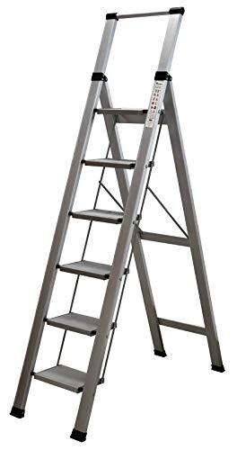 Homelux 710029 Escalera Domestica Plana, Aluminio, 6 Peldaños