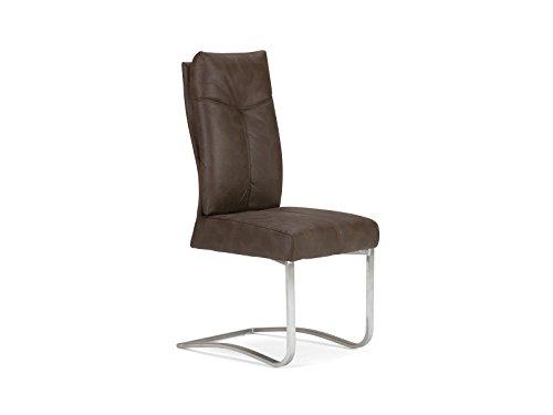 massivum gepolsterter Schwing-Stuhl Bayon 106cm mit braunen Stoff in Wildleder-Optik und Edelstahl-Gestell, Griff an der Rückenlehne für Esszimmer und Küche