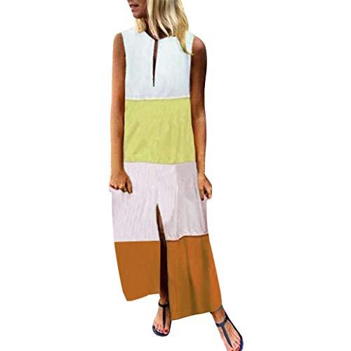 MCYs ❤ Frauen Sleeveless V Ansatz Farben Patchwork gedrucktes Beiläufiges langes Maxi Strand Kleid -