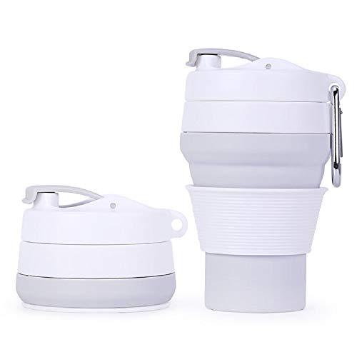 Mars Jun Faltbare Wasserflasche, zusammenklappbare Silikon-Wasser-Trinkflasche-FDA genehmigt, BPA geben frei, Anti-Leckage Sport-Flasche für Outdoor und Reisen-350ML(Grau)