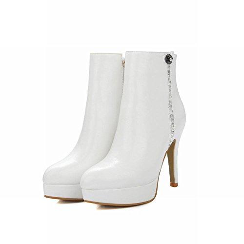 Mee Shoes Damen high heels Plateau Reißverschluss Stiefel Weiß