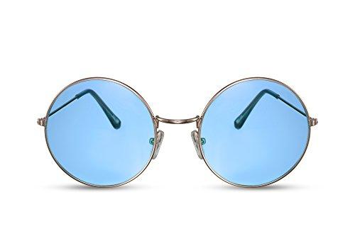 Cheapass Sonnenbrille Rund-e Groß-e Gold Blau Oversized Designer-Brille UV-400 Metall Damen