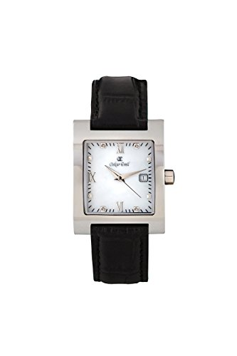 Oskar-Emil Classic with Diamonds St Petersburg Women's Quartz Watch with Mother of Pearl Dial Analogue Display and Black Leather Strap