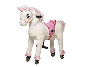 animal riding ARU010M - Caballo de equitación (melodía de Unicornio, tamaño Medio/Grande, para niños a Partir de 5 años, Altura del sillín de 67 cm, con Ruedas), Color Blanco