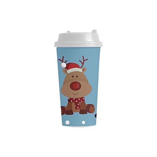 Weiße Schneemann Winter Maskottchen Gewohnheits personalisierter Druck 16 Unze Doppelwand Plastikisolierte Sportwasser Flaschen Schalen Pendler Reise Kaffeetassen für Studenten Frauen Milch Teetasse