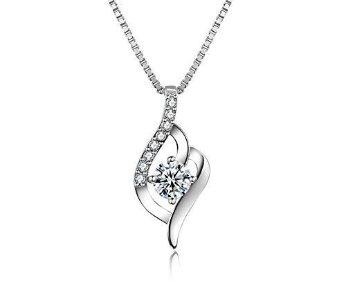 JVnus-Damen-Schmuck-Halskette-Silber-mit-Anhnger-925-Sterling-Silber-Zirkonia-45cm-Kette-Schmuck-mit-Etui-ewige-Liebe-wei