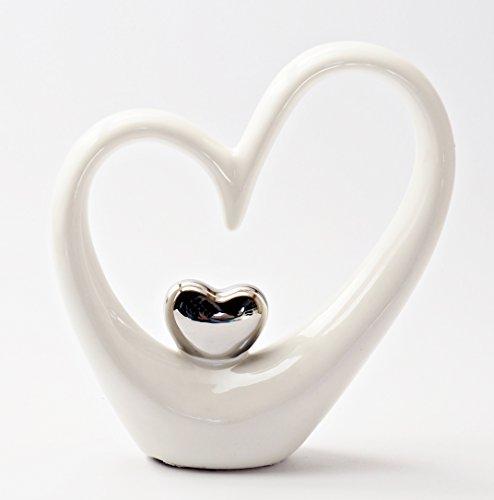 Stilvolle Herz-Skulptur zur Dekoration, weiß / silber Keramik-Deko, Statue 15 cm hoch, gut geeignet für Vatertag