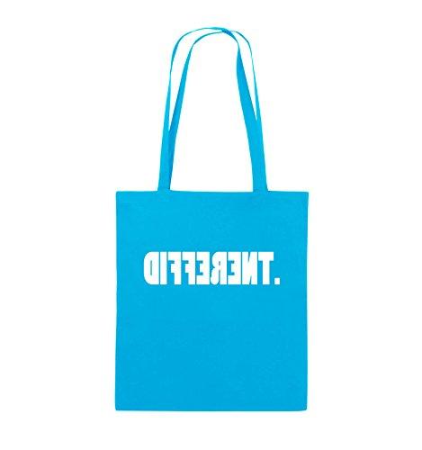 Comedy Bags - DIFFERENT - gespiegelt - Jutebeutel - lange Henkel - 38x42cm - Farbe: Schwarz / Silber Hellblau / Weiss
