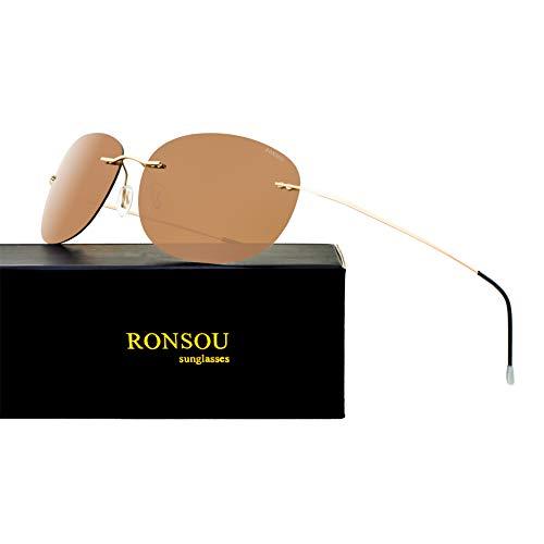 RONSOU Ultraleichte Randlose Reine Titan-bunte Mode Polarisierte Sonnenbrille für Männer und Frauen_Goldener Rahmen Braune Linse