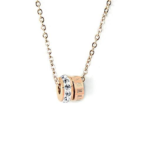 Lxj collana in acciaio inox digitale diamante anello collana rosa 18 carati oro o parola trans tallone collana