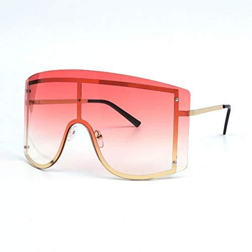 JYTDSA Fashion Oversized Female Gradient Sunglasses Frameless Metallic Sunglasses