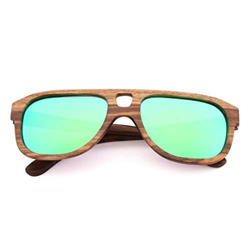 Yiph-Sunglass Sonnenbrillen Mode Vintage Bambus Holz Aviator Sonnenbrille mit polarisierter Linse zum Fahren (Farbe : Grün)