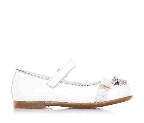 MISS GRANT - Ballerina bianca in vernice, dallo stile elegante e molto glamour, con chiusura a strappo, fiocchetto in tessuto, pietre decorative, Bambina, Ragazza-21