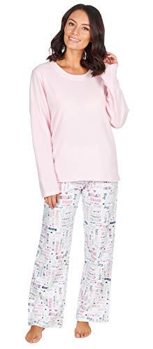 Damen Pyjama Set Fleece Oberteil mit Flanell Böden Hausanzug - Pink-Words, XL
