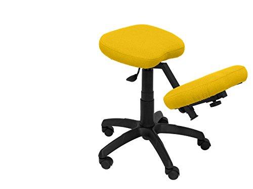 Bargain PIQUERAS Y CRESPO Modelo 37G Taburete de oficina ergonómico giratorio y regulable en altura Asiento tapizado en tejido BALI color amarillo (RODILLERA REGULABLE)