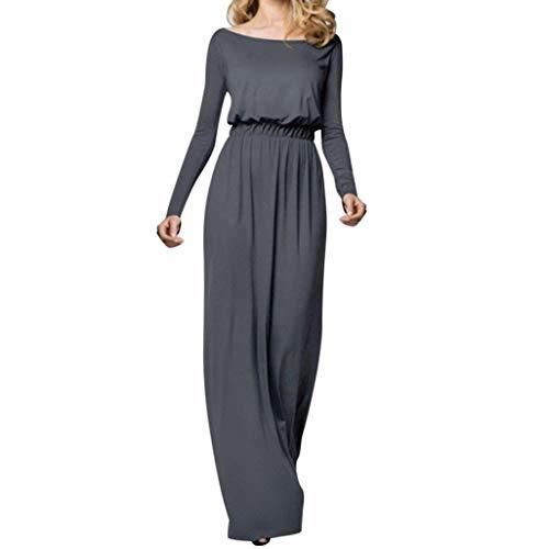 OIKAY Rockabilly Kleider Damen Solide Maxikleid Langarm Rock Frauen Casual Strand Lange Maxi Kleider