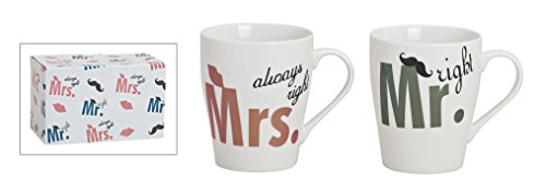 Tassen-Set 2-telig aus Porzellan, 8x10 cm | Kaffee-Becher Mr. and Mrs. always right | Partnertassen...