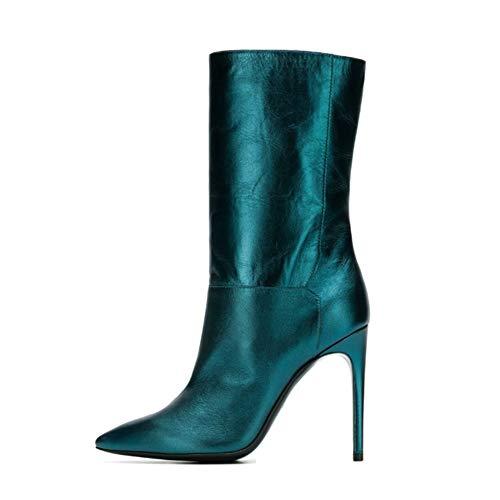 WHL.LL Frauen Wies Schmaler hoher Absatz Mittlere Stiefel Erhöhen Rutschfest Hoher Absatz Booties Mode Stiefel (Absatzhöhe: 10cm), Blue,42