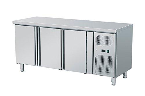 Zorro - Kühltisch mit Füßen ZGN 3100 - 3 Türen - Gastro Zubereitungstisch mit Arbeitsfläche - R600A - Digitales Thermostat - Umluftkühlung mit Ventilator - Kühlschrank