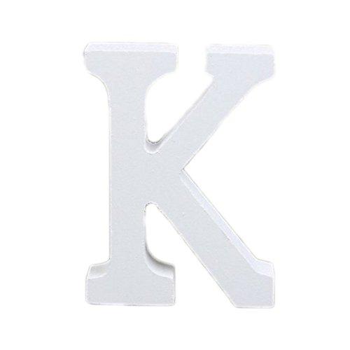 Weimay Décoratif Bois Lettres, 3D Blanc Lettres en Bois Alphabet Hauteur 8 cm DIY Alphabet pour Mariage Bureau fête Anniversaire décorations pour la Maison (K)
