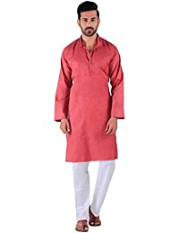 BDS Chikan Cotton Maroon Kurta for men's Lucknowi Chikan Work - BDS00891