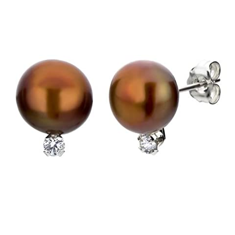 Sterlling Silver .10ctw Diamond 8-8.5mm Dyed-brown Button Shape Freshwater Cultured Pearl Stud Earrings
