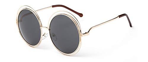 MoHHoM Sonnenbrille Vintage Oversize Runde Sonnenbrille Frauen Legierung Um Hohle Rahmen Fashion Kreisen Frosch Sonnenbrille Uv400 Golden Black