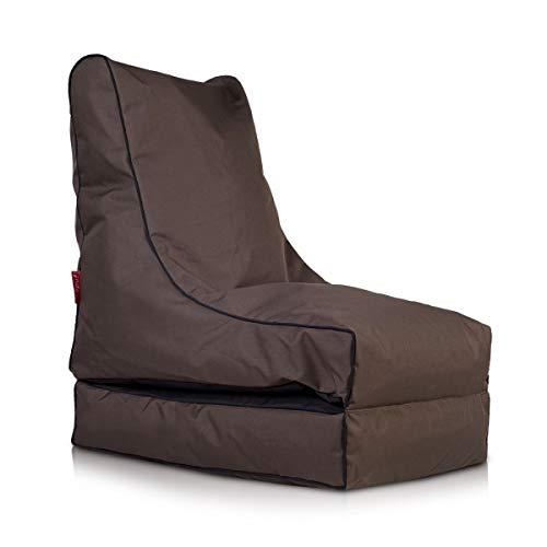 Ecopuf Coque Pouf Chaise Longue Fumiko Polyester Largeur cm.50 Longueur cm.Plié 75 cm. – Ouvert 150 cm. Hauteur Assise cm.Plié 85 cm. – Ouvert 30 cm. Marrone Scuro Nc15