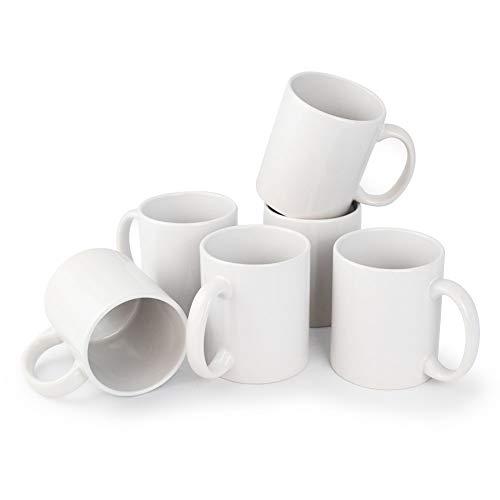 6er Set weiße Keramik Kaffeetassen ohne Druck - zum bemalen und basteln geeignet - Simple Kaffeebecher zum Personalisieren - 300ml - Tassen/Becher/Pott für Kaffee, Tee und mehr