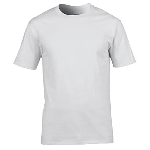 Gildan Mens Premium Cotton Ring Spun Short Sleeve T-Shirt (L) (White)