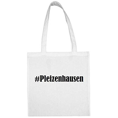 Tasche #Pleizenhausen Größe 38x42 Farbe Weiss Druck Schwarz