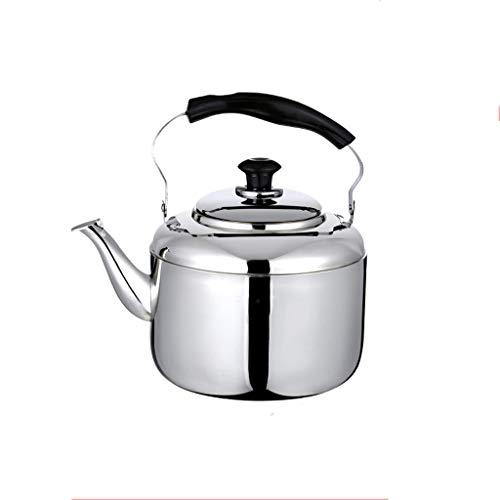 Bouilloire induction 304 en acier inoxydable épaissie bouilloire bouilloire gaz sifflet fond plat ménage grande capacité induction cuisinière gaz 5-6l WHLONG (Size : 6L)