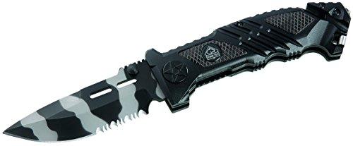 Puma TEC Rettungsmesser, Stahl 420, schwarz-graue Klinge,, Liner Lock, Gurtschneider, Schlagdorn, Clip, Alu-Schalen, 323312 -