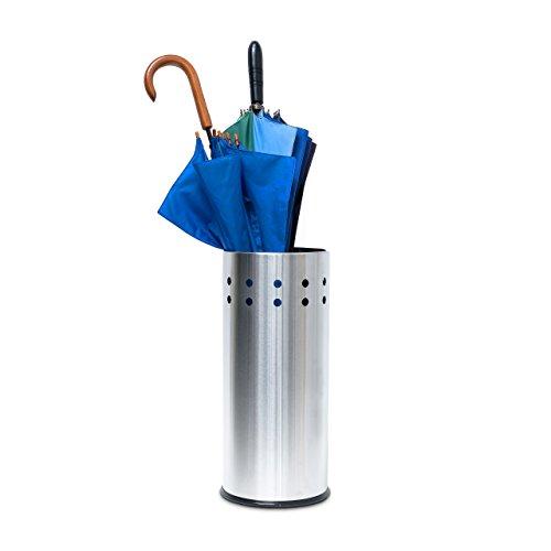 Relaxdays 10019103 Schirmständer Edelstahl, rund mit Lochmuster für Regenschirm, Gehstock, Regenschirmständer mit Einleger und Unterleger, Geschenkpapierständer, Höhe 49,5 cm, Durchmesser 22,5 cm, silber