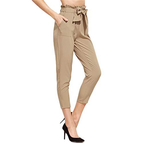 Tie Waist Pants Women Khaki Elegant Ruffle Bow Peg Cropped Pants Fashion New Mid Waist Brief Pockets Solid Work Pants Khaki S Bow-front Pencil-skirt