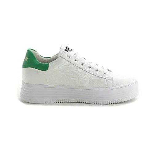 Sportliche Damen Sneakers Low Turnschuhe Flats Schnürer Grün