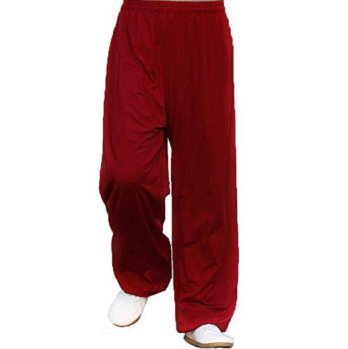 Tai Chi Hosen Laterne Hosen Männer Milch Seide Martial Arts Tai Chi Yoga Hosen Frühling und Sommer Üben Hosen Frauen Atmungsaktivität,rot,L - Milch Seide