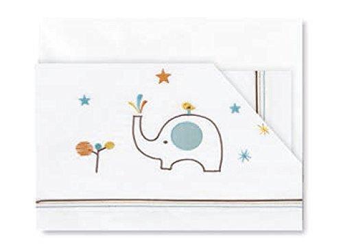 Pirulos 00912410 - Tríptico sábanas, diseño elefante, 80 x 140 cm, color...