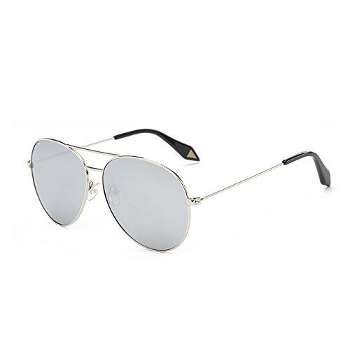 SUNGLASSES Star Models Sonnenbrille Retro Sonnenbrille Frauen Farbfilm Polarisierte Brille Herren Flut Box Frosch Spiegel (Farbe : Silver Frame Mercury)